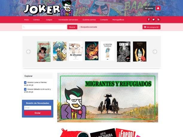 web tienda de comics joker
