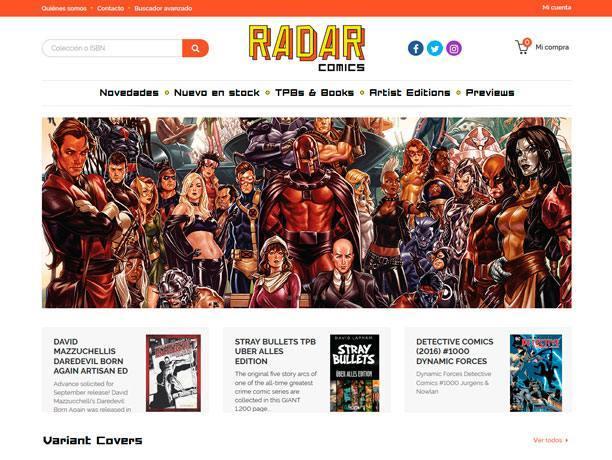 web tienda de comics radar
